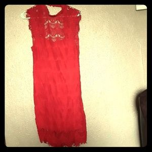 Beautiful  red lace dress bu free people new